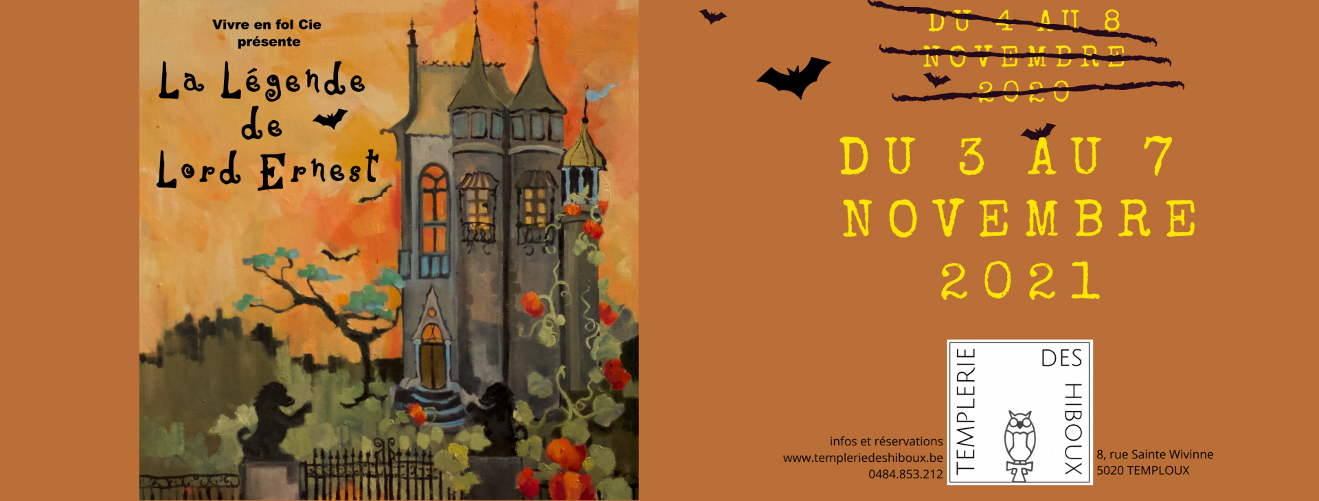 Copie de yellow pink and purple haunted house vintage horror greeting generic halloween facebook cover 2